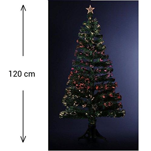 DECORACIÓN NAVIDAD - Arbol de Navidad artificial de fibra óptica + 136 RAMAS con Variación luminosa- Entregado con su pie - Alto 120 cm - Color VERDE