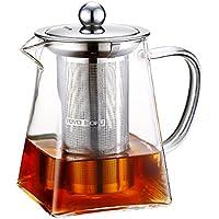 Toyo Hofu trasparente in vetro resistente al calore tè sfuso grande teiera con infusore in acciaio INOX, 1200ML, Vetro, 600ml