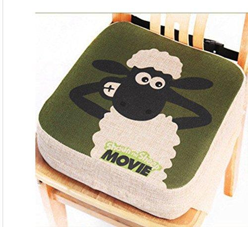 Cuscino per bambini, rialzo per sedia da pranzo – Cuscinetto portatile per sedia, imbottito, con cinghie regolabili - per bambini piccoli (Pecora)