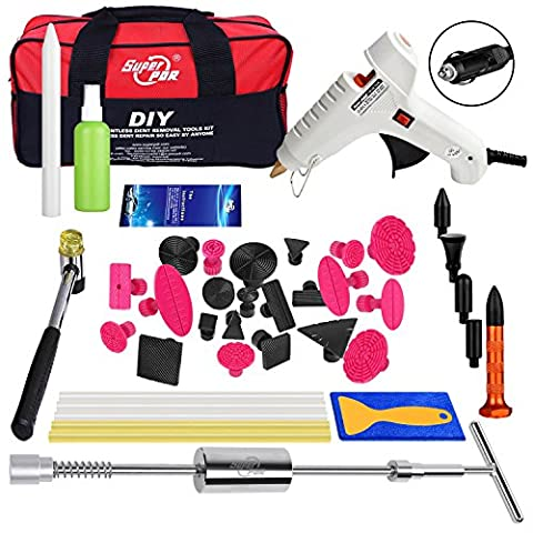 Super PDR DIY 40pcs New Car AUTO Paintless Dent PDR Hail Repair Tool kit Set Glue Stick Puller Hand Lifter Tabs Slide