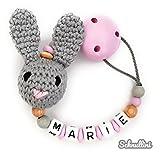 Schnullerkette mit Namen Gravur Süßer Hase Geschenk Taufe Geburt Silikonring individuell | Mädchen rosa Namenskette