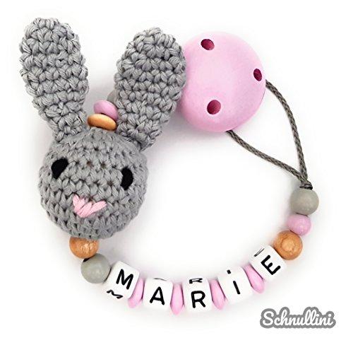 amen Gravur Süßer Hase Geschenk Taufe Geburt Silikonring individuell | Mädchen rosa Namenskette ()