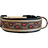 [Gesponsert]Hundehalsband Borte Zauberranke Leder Handarbeit Klickverschluss (42-47 cm)