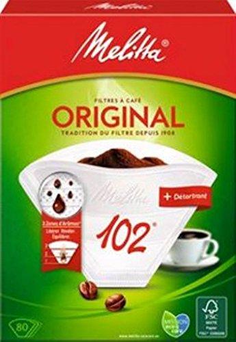 Melitta, 80 Filtres à Café, Taille 102, Pour Cafetière à Filtre, 1 Sachet de Détartrant Inclus, Original, Brun