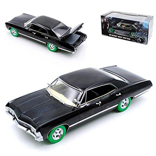 Greenlight Chevrolet Impala Sport Sedan Limousine Schwarz grüne Reifen Supernatural Join The Hunt 1965-1970 1/24 Modell Auto