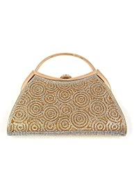 Premium Clutch With Round Pattern Of Diamond And Gold ~ Adjustable Shoulder Chain, Snap Closure & Smooth Inner Satin.