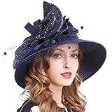 Señora Oaks Derby Iglesia Vestido Sombrero Bucket Boda Bowler Sombreros (SD706-Armada)