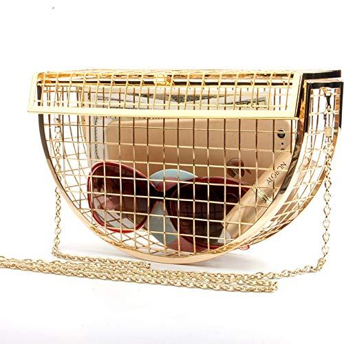 Damen New Metal Semi-Circle Hohl Abendtasche Schulter Geschlungene Kette Abendtasche Persönlichkeit Mini Mesh Kupplungen Taschen Modisch (Farbe : Gold) - Gold-mesh-kupplung