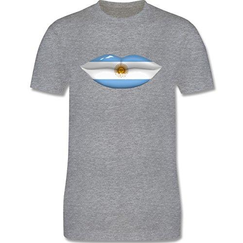Länder - Lippen Bodypaint Argentinien - Herren Premium T-Shirt Grau Meliert