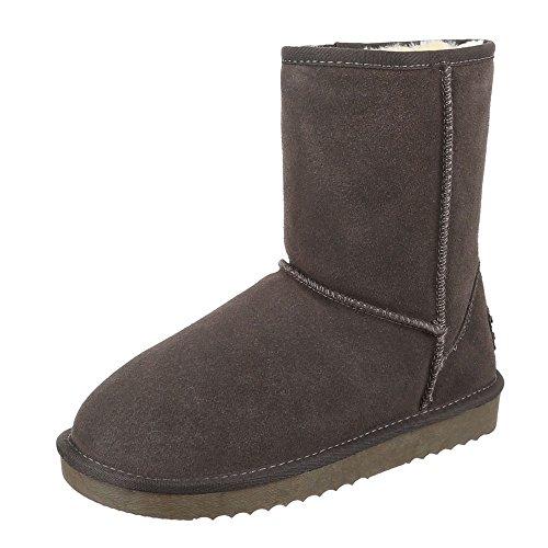 Ital-design Comfort Ankle Boots Donna Scarpe In Pelle Antiscivolo Stivaletti Caldi Foderati Grigio Scuro