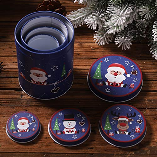 Shenxay Weihnachten süße Kerze Cookie Lagerung Box Zinn Tee Münze Container Fall Veranstalter Hochzeit Gunsten Dekor - Die Haben Box Blue Engel Die