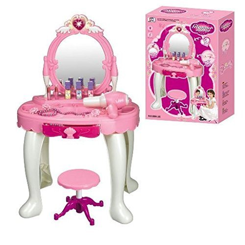 Pink Glamour Mirror Dressing Table With Seat