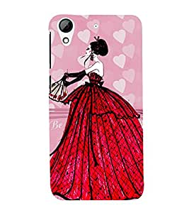 ANIMATED GLAMOROUS GIRL IN A RED GOWN 3D Hard Polycarbonate Designer Back Case Cover for HTC Desire 728::HTC Desire 728G