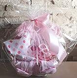 Baby Mädchen Geschenkset - Präsentkorb +5 teilig Schlupfhose+T-Shrt-Lätzchen +1paar Strümpfe zur Geburt -Taufe(6-12 Monate -74)