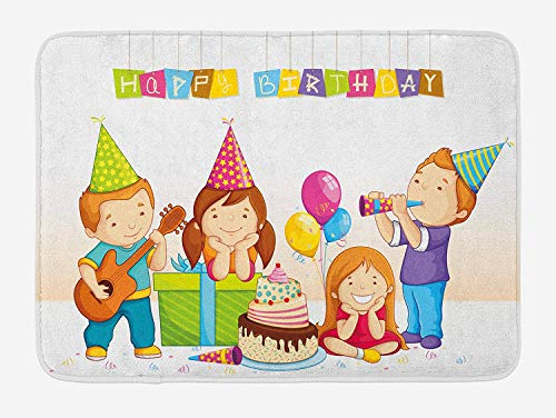 BBABYY Kids Birthday Bath Mat, Colorful Kindergarten Party Cone Hats Cake Boxes Music Celebration Print, Plush Bathroom Decor Mat with Non Slip Backing, 23.6 W X 15.7 W Inches, Multicolor Chicken Music Box