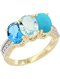 14 Karat Gelb Gold Natural Swiss Blau Topas, Aquamarin & Türkis Ring Ehering 7 x 5 mm Oval Diamant Accent, Größe S