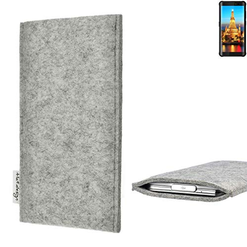flat.design Handy Hülle Porto für Energizer H590S maßgefertigte Handytasche Filz Tasche Schutz Case fair grau