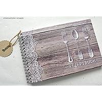 Rezeptbuch DIN A5 Holzdesign mit Spitze
