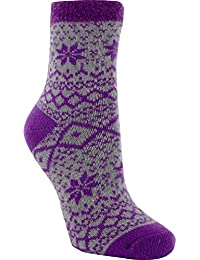 Yaktrax Women's Cozy Cabin Socks Purple/Grey