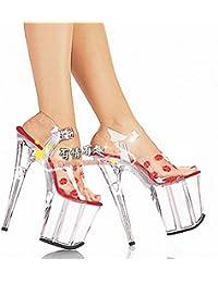 la mode des pantoufles chaussures 17 cm super talon de cristal,de gueules