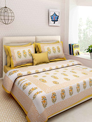 Uniqchoice Jaipuri Designer Printed 100% Cotton Double Bedsheet With Zipped 2 Pillow Cover(Multicolor.....)