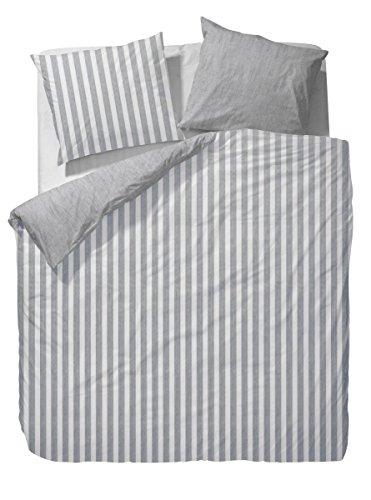 Marc O'Polo 730001-100DE-019 Bettwäsche Classic Stripe, Maße: 1-er Set 155 x 220 und 80 x 80 cm, Material: 100% Baumwolle/Satin, Farbe: Grau