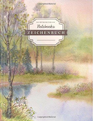 DÉKOKIND Zeichenbuch | DIN A4, 122 Seiten, Register, Vintage Softcover | Dickes Blanko-Notizbuch zum Selbstgestalten | Motiv: Natur-Aquarell