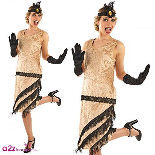 1920's Charleston Girl Ladies Fancy Dress 20's Gangster Showtime Adults Costume S (UK: (Girl Uk Gangster 1920's Kostüm)