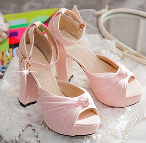 Aisun Damen Elegant Mesh Peep Toe Knöchelriemchen Trichterabsatz Plateau Sandalen Pink