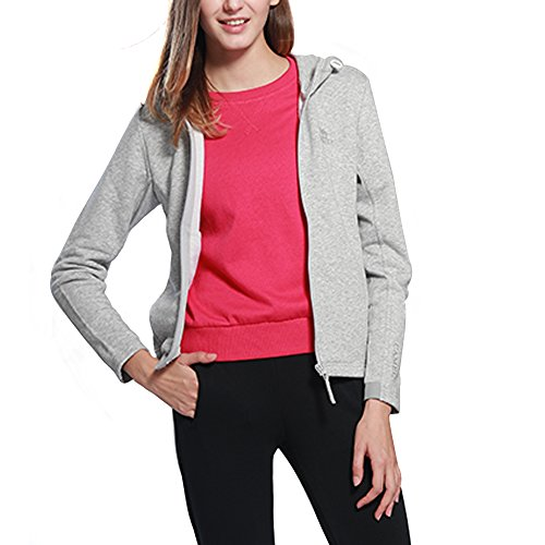 CAMEL Lange Ärmel Damen Fleece Full Zip Jacke Frauen Outdoor Sportbekleidung Fleece Hoodies Oberbekleidung, Grau, Medium -