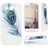Asnlove para Samsung Galaxy S3 III I9300/S3 Neo i9301 cover funda carcasas de Gel TPU silicona transparente suave ultra delgada goma cubierta de tapa trasera case-Pluma azul