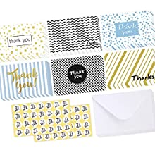 Thank You Cards 48 Pack, Ohuhu Thank U Notes Greeting Cards, Blank Note Cards Set for Mother's Day, Wedding, Baby Shower, Business, Bridal Shower, 10 x 15 cm