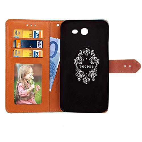 Style de style mural européen Luxe Coque en cuir en cuir rétro en cuir avec caisse de rembourrage en cuir véritable Geared et Kickstand pour Samsung Galaxy J520 ( Color : Khaki ) Rosegold