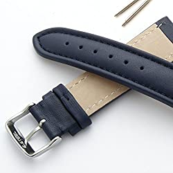 Blue 22mm Smooth Padded Leather Watch Strap (XL)