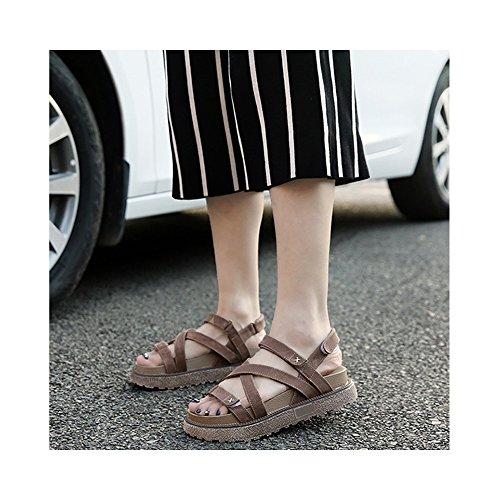 OCHENTA Femme Sandales Plateforme Epais Confortable Eté Lanière Velcro Kaki