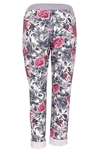 Moda Italy Damen Freizeithose Baggy Hose Sweatpants Baumwolle Tunnelzug Blumenprint Bunt Lila-Blau
