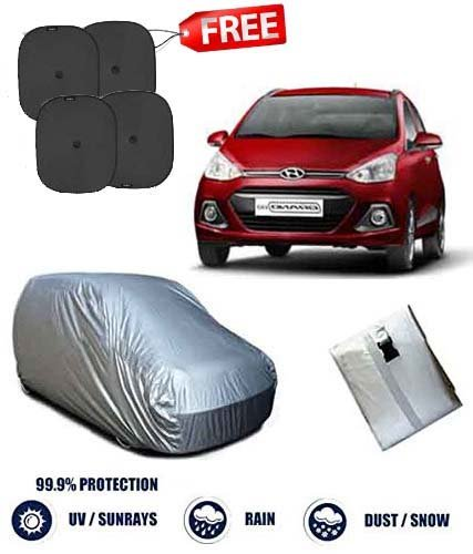 Fabtec Silver Car Body Cover With Set Of 4 Sun Shade For Hyundai Grand i10  available at amazon for Rs.575