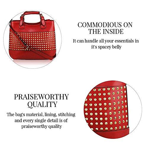 Trendstar Frauens Maxi Entwerfer Schulter Leder Taschen Stilvolle Shopper Handtaschen (X - Grau/Nude) Y - Rot