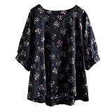 Frauen halbe Hülsenbluse Damen Vintage Shirt lässig Plus Größe Mode Baumwolle Tops T-Shirt Vintage Boho Floral lose Bluse Moonuy