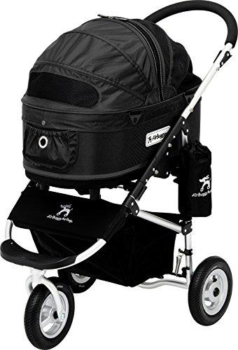 """AirBuggy """"Dome 2"""" Größe: M Luxus Hundebuggy Hundewagen PetStroller Autositz Hundetasche Transporttasche hochwertig schwarz 3in1 Aluminium inkl GRATIS REGENHAUBE"""