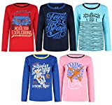 Elk Boys Kids Cotton Printed Full Sleeves T-Shirts Pack of 5 Red Blue