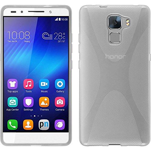 PhoneNatic Case für Huawei Honor 7 Hülle Silikon clear X-Style Cover Honor 7 Tasche + 2 Schutzfolien