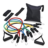 Forepin® 11 pcs Snap Guard Resistance Bands Power Cords Set with 5 Stackable Anti-snap Exercise Tubes, 2 Ancle Straps, 2 Handle, 1 Door Anchor, 1 Carrying Case, and Instructions for the Top muscle Building Exercises