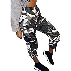 Pantalon Militar Mujer Pantalones De Largos Libre Tiempo Pantalon Pants Ropa Festiva Elegantes Moda Joven Tendencia Streetwear Swag Talla Grande Otoño Invierno (Color : Blanco, Size : M)