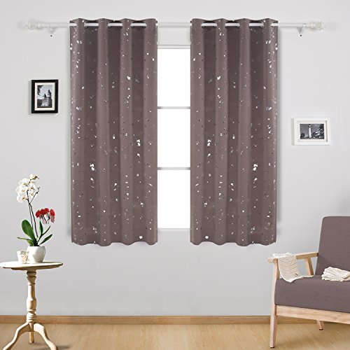 Deconovo Ring Top Blackout Curtains Silver Dots Foil Printed Thermal  Insulated Curtains For Bedroom 46 X 54 Inch Taupe One Pair