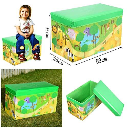 Coffre de rangement enfant, filles et garçons, pour livres, vêtements et jouets, pliable avec couvercle, peut également servir de siège, Zoo, MultiColour