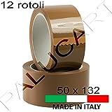 Nastro adesivo pacchi 12 ROTOLI 50 mm x 132 mt imballo scatoli cartoni professionale made in italy resistente top quality (AVANA)