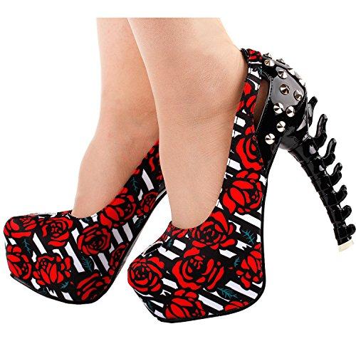 Story Rock Knochen Cut Rot Pumps Bolzen Schmetterlings Plattform toe out LF80626 Show Heel Peep d4z5qRdx