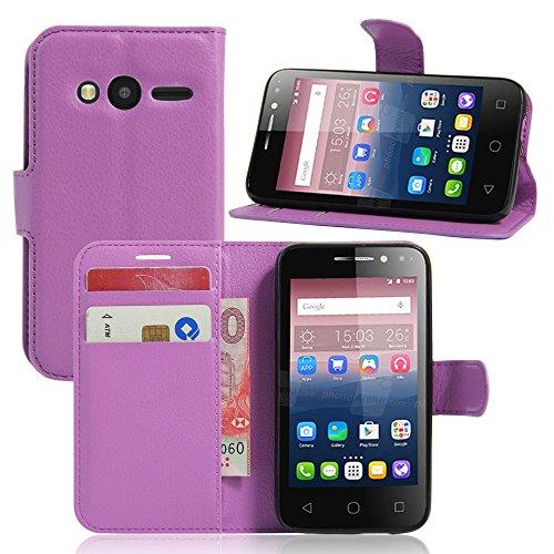Tasche für Alcatel Pixi 4 (4.0 zoll) Hülle, Ycloud PU Ledertasche Flip Cover Wallet Case Handyhülle mit Stand Function Credit Card Slots Bookstyle Purse Design lila