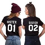JWBBU Best Friends Sister T-Shirt mit Aufdruck Halb-Herz für Zwei Damen Mädchen Sommer Weiß Schwarz Oberteil Geburtstagsgeschenk 2 Stücke (01-S+02-S, Black)